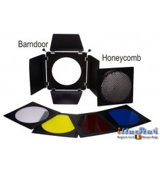 BD-23 - Barndoor including 4 colour filters & honeycomb – fits on reflectors from ø20 to ø23cm