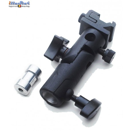 FLH-E - PRO Tilting bracket with Hot-Shoe and umbrella holder, for mounting speedlite on stand