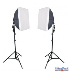 SET FL8SB - Studiokit (1440W 23040 lm) 2x lamp with softbox 50*70cm, 8x 36W Daylight fluorecent lamp, 2x light stand 190cm