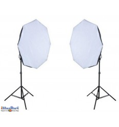 SETFL8SBO - Studiokit (1440W 23040 lm) 2x lamp with softbox ø65cm, 8x 36W Daylight fluorecent lamp, 2x light stand 190cm