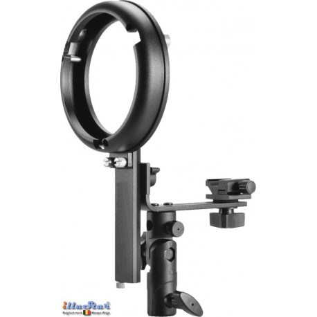 SLBCNBS - Support flash cobra type L avec sabot flash (Canon/Nikon) pour baïonnette Bowens-S - illuStar
