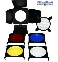 BDSMD - Barndoor for studio flash SMD-serie & Mini ø98~82mm - including 4 colour filters & honeycomb - illuStar