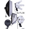 CL-5FL-SB - Studio Lamp (950W) with 5x 38W fluorecent E27 lamps - Softbox 50x70 cm - 4 step power control