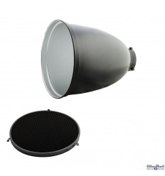 RSM29 - Tele High Performance Reflector 45° ø29cm, length 35cm & Honeycomb Grid 45° - Bowens-S adaptor - illuStar