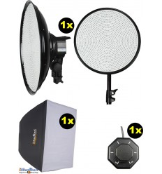 SET-LEDM-1144 - 75W LED Video & Foto Studioverlichting, 5400°K, 9000 lm, Traploze lichtregeling, Softbox, Afstandsbediening