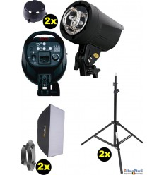 SET FS200D - 2x FS-200D digital and stepless 200~6 Ws, 100W halogen, 2x stands 195cm, 2x Softbox 50x70cm