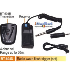 RT604D - Radio wave Flash Trigger set - Receiver (2xAAA 1.5V battery not included)  + Transmitter - 4-channels - illuStar