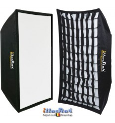 SB-90122HC-A144 - Softbox 2in1 - 90x122cm with Diffuser & Honeycomb Grid - 360° rotating - foldable - carry bag