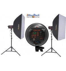 SET FI500D - 2x FI-500D digital and stepless 500~15 Ws (Joule) E27 250W halogen, 2x stands 250cm, 2x Softbox 80x120cm - illuStar