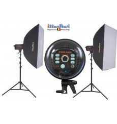 SET FI800A - 2x FI-800A stepless 800~25 Ws (Joule) E27 250W halogen, 2x stands 250cm, 2x Softbox 80x120cm