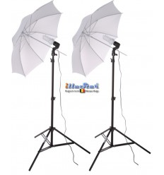 Studio Kit (6000 lm) 2x 38W Daylight Fluorecent lamp, 2x light stand 190cm, 2x Umbrella Transparent ø84cm - illuStar