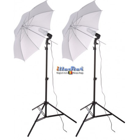 SET-FLT2-38 - Studio Kit (6000 lm) 2x 38W Daylight Fluorecent lamp, 2x light stand 190cm, 2x Umbrella Transparent ø84cm