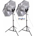 SET-FLT4-105 - Studio Kit (33600 lm) 4x 105W Daylight Fluorecent lamp, 2x light stand 190cm, 2x Umbrella Silver ø84cm