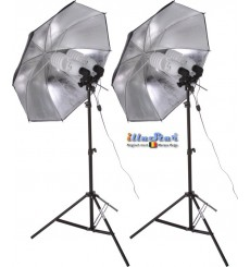SET FLT4105 - Studio Kit (33600 lm) 4x 105W Daylight Fluorecent lamp, 2x light stand 190cm, 2x Umbrella Silver ø84cm