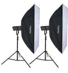 SET FX500I - 2x FX-500 digital and stepless 500~15 Ws (Joule), 2x stands 250cm, 2x illuStar Softbox 80x120cm